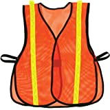 OK-1 687 Hook and Loop Style Orange Safety Vest with Lime Reflective, S/XL