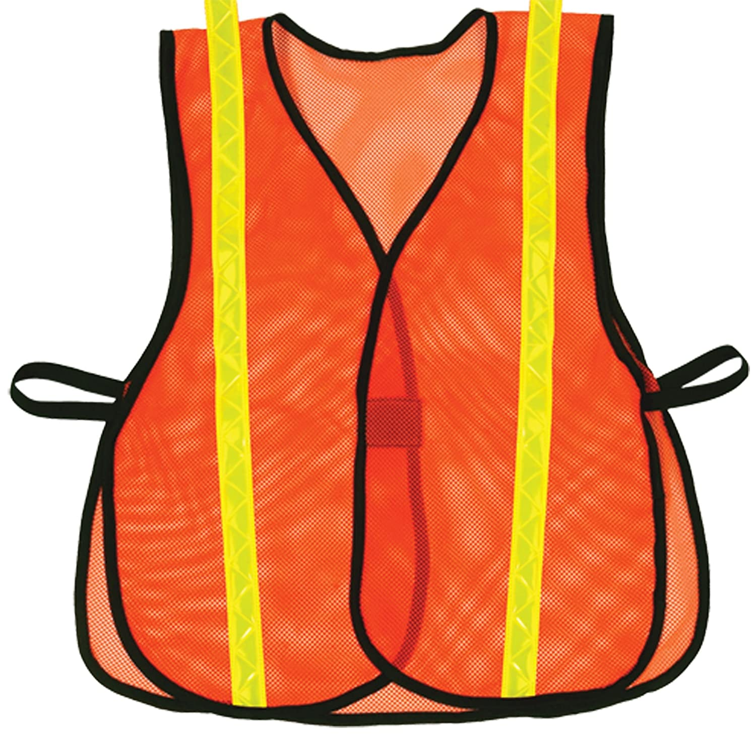 OK 1 687 Hook And Loop Style Orange Safety Vest With Lime Reflective S XL