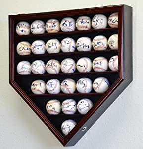 30 Baseball Ball Display Case Cabinet Holder Rack Home Plate Shaped w/98% UV Protection- Lockable -Cherry