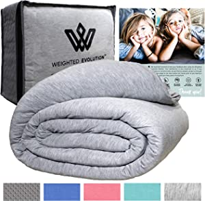 "Weighted Evolution Weighted Blanket+ Bonus Organic Bamboo Duvet Cover|PRE-Assembled| Best Blanket for Adults/Kids-Hypoallergenic Warm Cooling Calm Cozy Heavy Blanket (Grey, 48""x72""