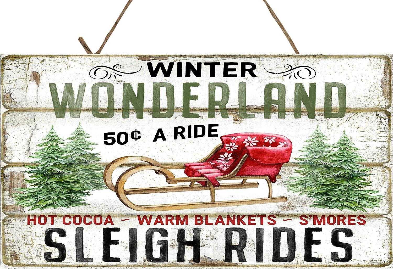 Twisted R Design Farmhouse Christmas Decor Hanging Wood Wall Sign (Winter Wonderland Sleigh Rides)