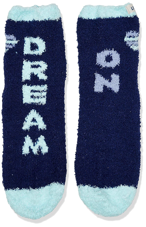 Darkest Blue Life is Good Womens Snuggle Sock Dream Heart One Size