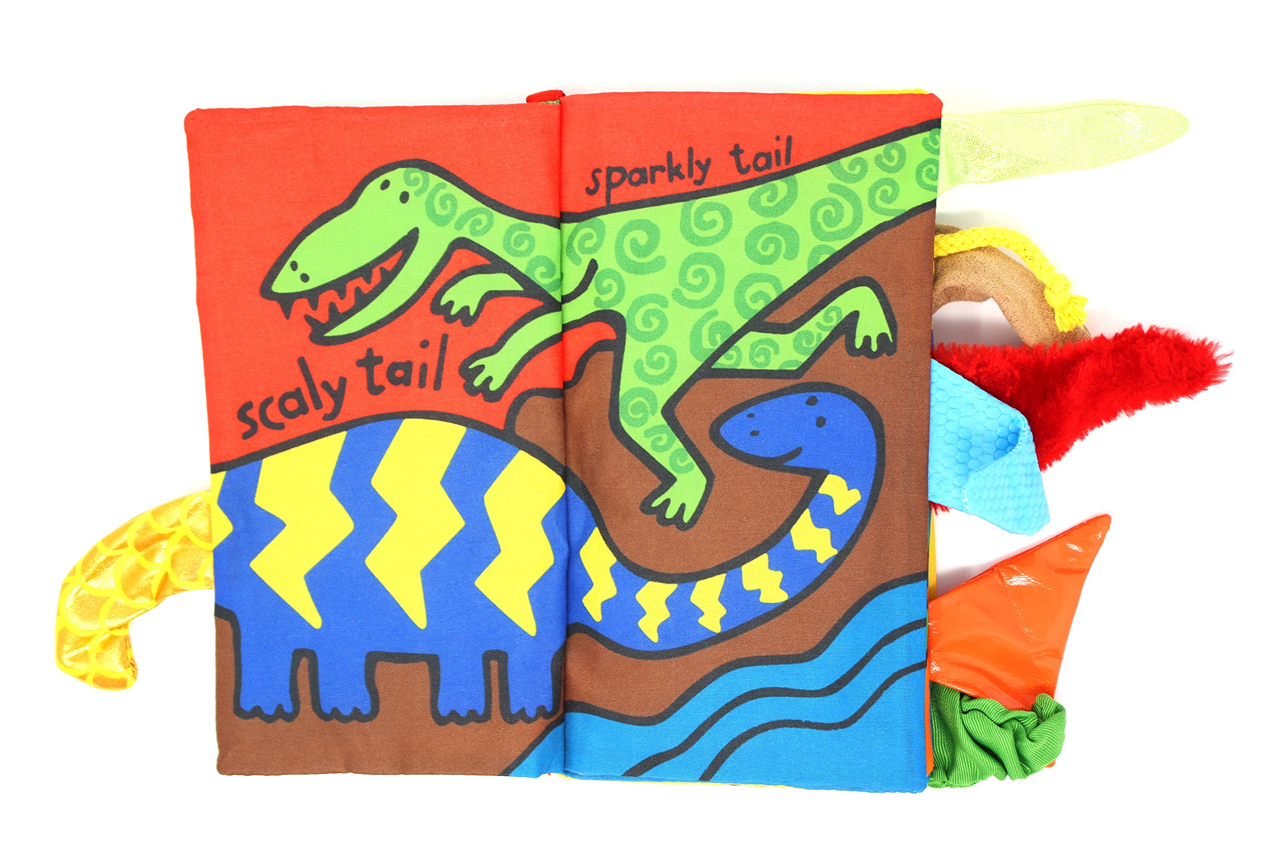 HappyTeenok Animal Themed Baby Fabric Cloth Book Activity Soft Educational for Toddler, Babies, Infants (Dino Tails)