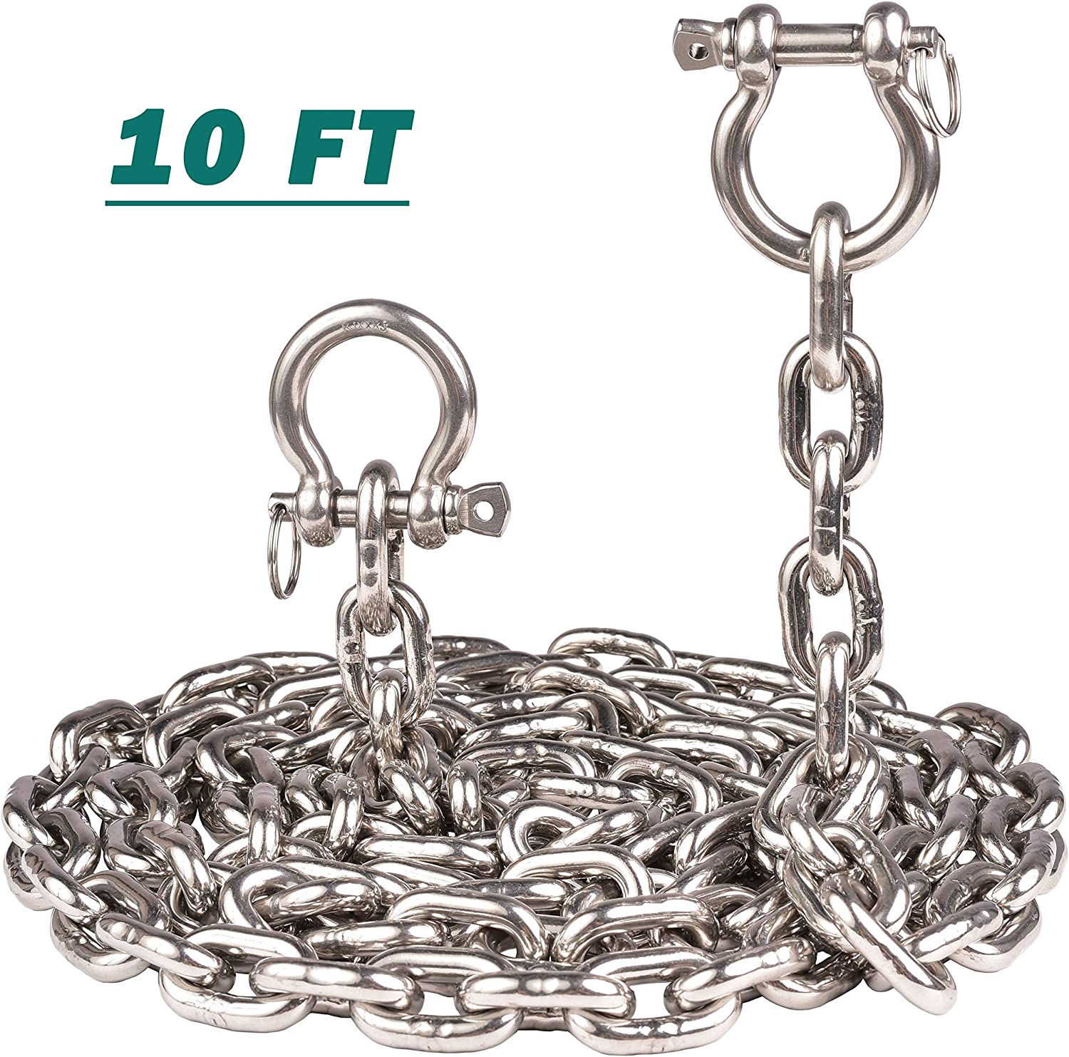Anchor Chain with 2 Pcs Anti-Off Shackles Marine Grade 8mm kjxxkj T316 Stainless Steel 5//16