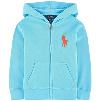 5e71f3247 Image Unavailable. Image not available for. Color: Ralph Lauren Polo Boys  Big Pony Blue Hoodie Full Zip Jacket ...