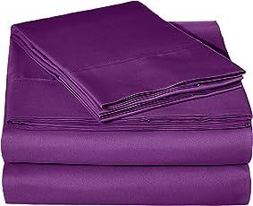 Amazon Basics Juego de sábanas de Microfibra, Queen, Ciruela