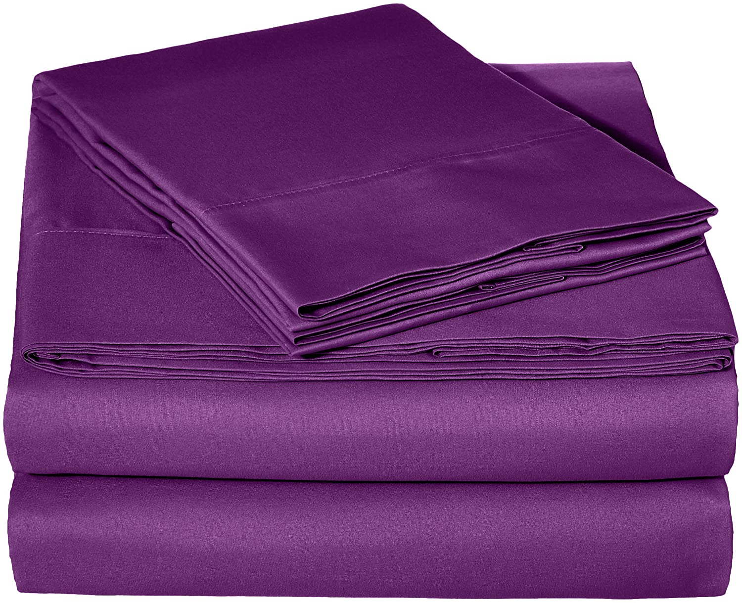 "AmazonBasics Lightweight Super Soft Easy Care Microfiber Sheet Set with 16"" Deep Pockets - King, Plum"