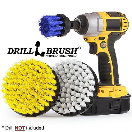 Drillbrush Accesorio de limpieza Barco Taladro Kit de accesorios cepillo de limpieza amarillo, blanco,