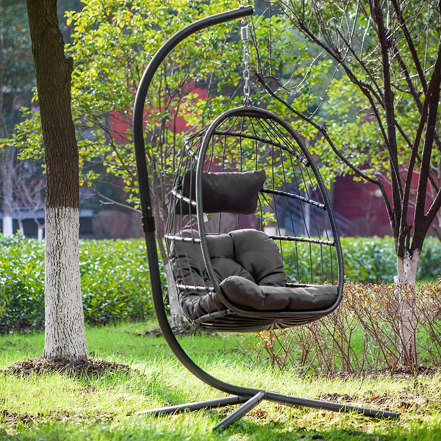 Egg Chair Aluminum Frame Swing Chair in Door Outdoor Hanging Egg Chair Patio Wicker Hanging Chair Hammock Chair with Stand