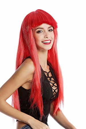 WIG ME UP ® - 1373-PC13 Peluca mujer Carnaval Halloween larga lisa flequillo color