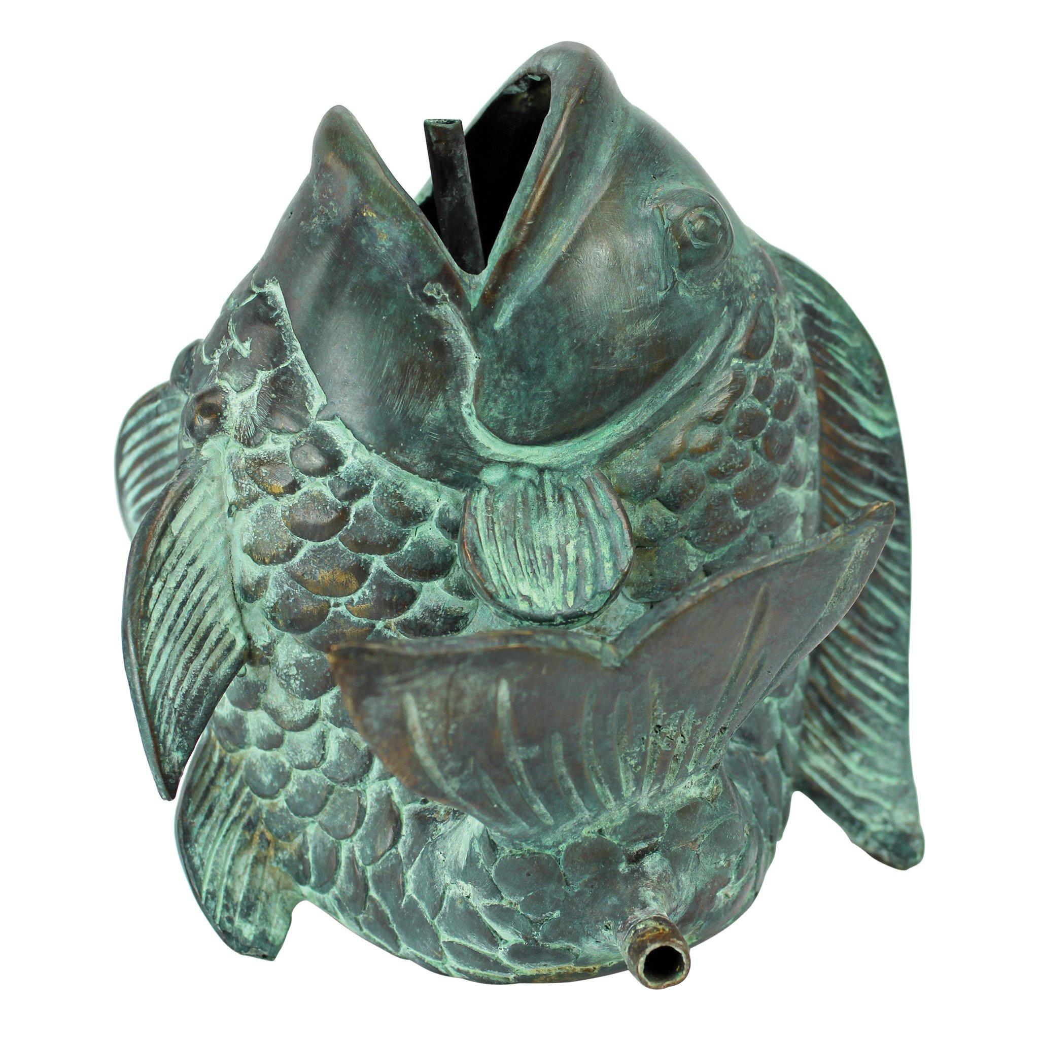 Design Toscano Small Asian Dancing Fish Cast Bronze Spitting Garden Statue