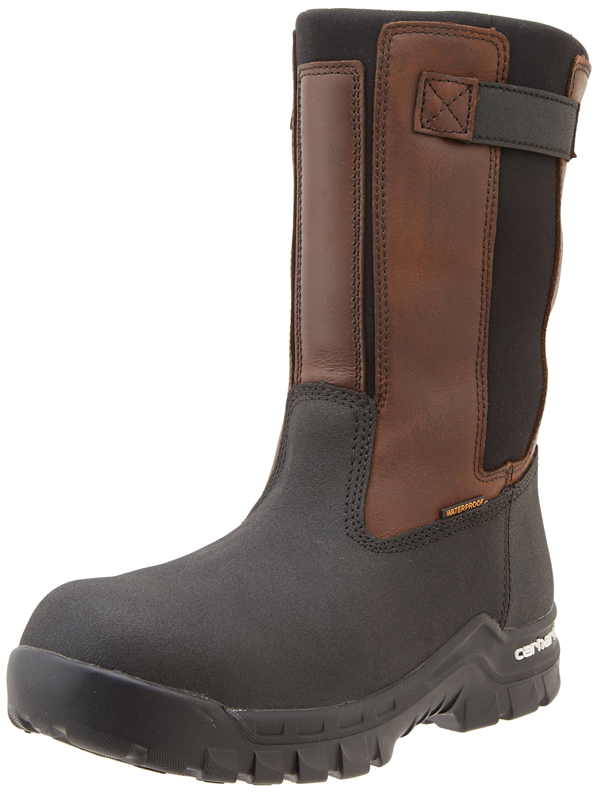Carhartt Men's 10'' Wellington Waterproof Leather Pull On Boot CMF1391, Brown Oil Tan/Black Coated, 12 M US