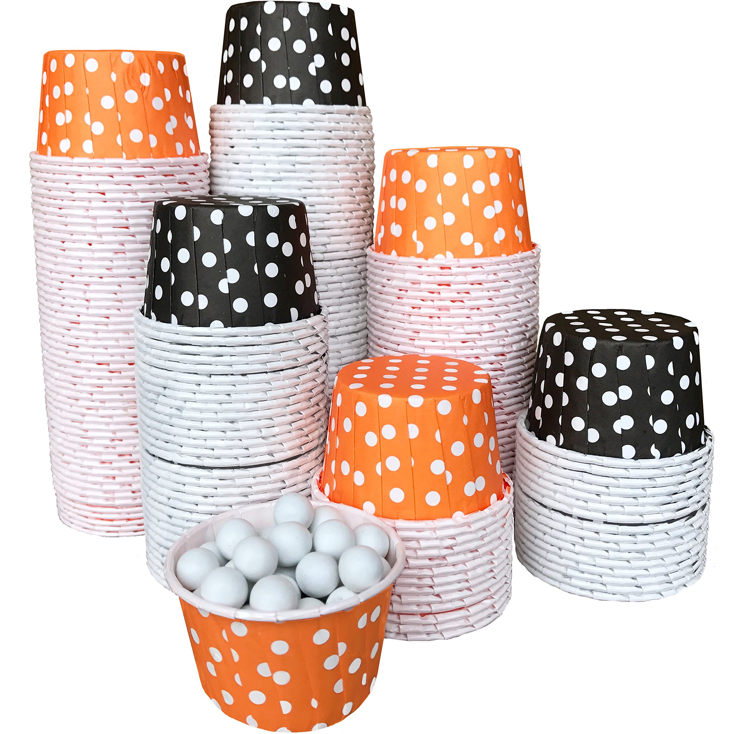 Halloween Polka Dot Bulk Candy Nut Mini Baking Cups 200 Pack Orange, Black, White