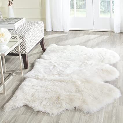 2 Safavieh Sheepskin Collection SHS121A Genuine Pelt White Premium  Shag Rug 3u0027 X 5