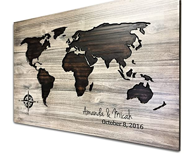 Amazoncom World Map Art Wood Wall Art Push Pin Map Travel Log - World map to mark travels