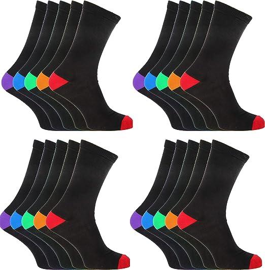 12 pares de calcetines negros de algodón con tacones de colores y dedos de los pies, talla 36 – 11: Amazon.es: Ropa y accesorios