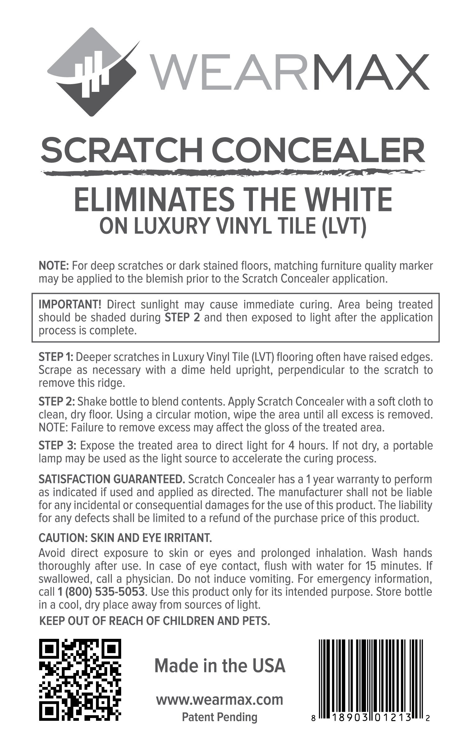 WearMax Scratch Concealer for Luxury Vinyl Tile (LVT) Flooring - Scratch Repair Touch-up & Remover - Eliminate White Lines from LVT Floors by WearMax
