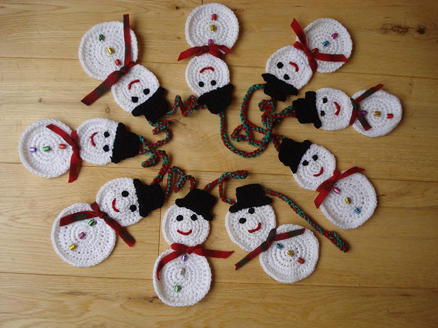 Christmas Decoration Crochet Snowmen Bunting Or Garland With Sparkly