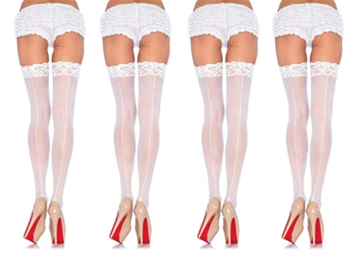 ca05fcf6e2006 Image Unavailable. Image not available for. Color: Leg Avenue Women's Plus  Size Sheer Thigh High Stockings with Back Seam and Silicone Lace Top