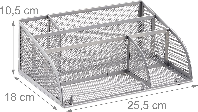 18 x 25.5 x 10.5 cm Relaxdays 10022480/_55 Organizador de Escritorio peque/ño con 5 Compartimentos Metal Plateado
