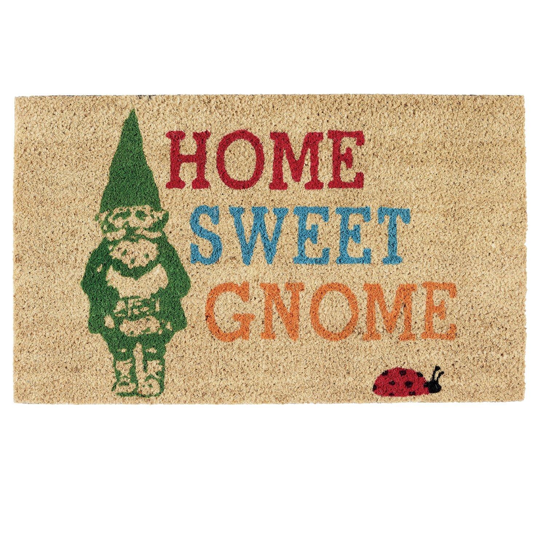 DII Indoor/Outdoor Natural Coir Easy Clean Rubber Back Entry Way Doormat for Patio, Front Door, All Weather Exterior Doors, 18 x 30 - Home Sweet Gnome