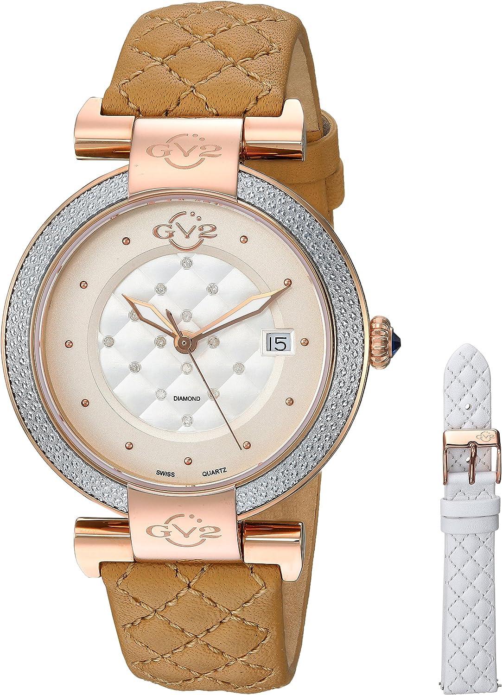 GV2by Gevril berletta Swiss de la Mujeres Cuarzo Reloj Casual de Cuero y Acero Inoxidable, Color: Gold-Toned (Modelo: 1507)