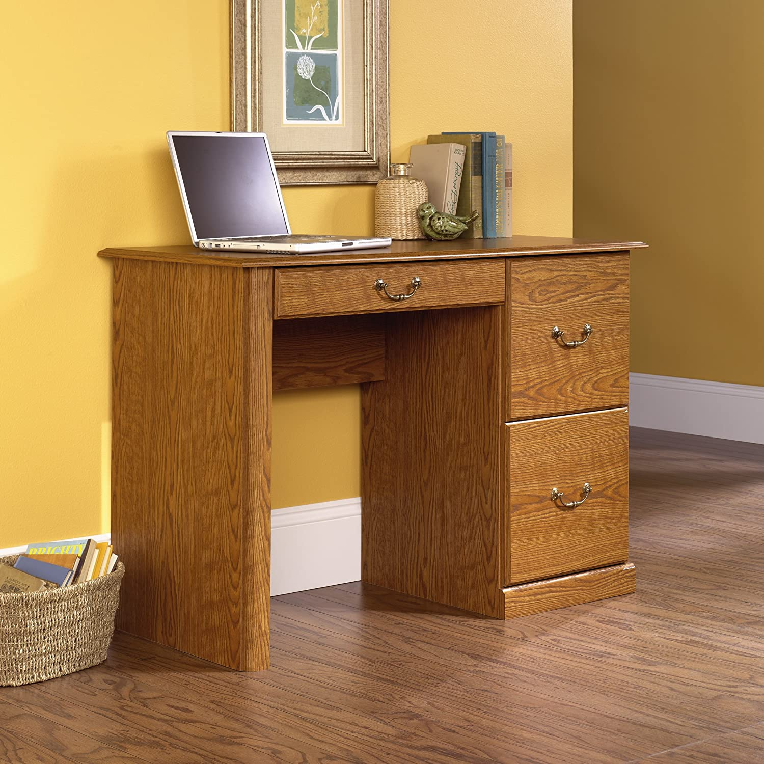 amazoncom sauder orchard hills computer desk carolina oak finish kitchen u0026 dining