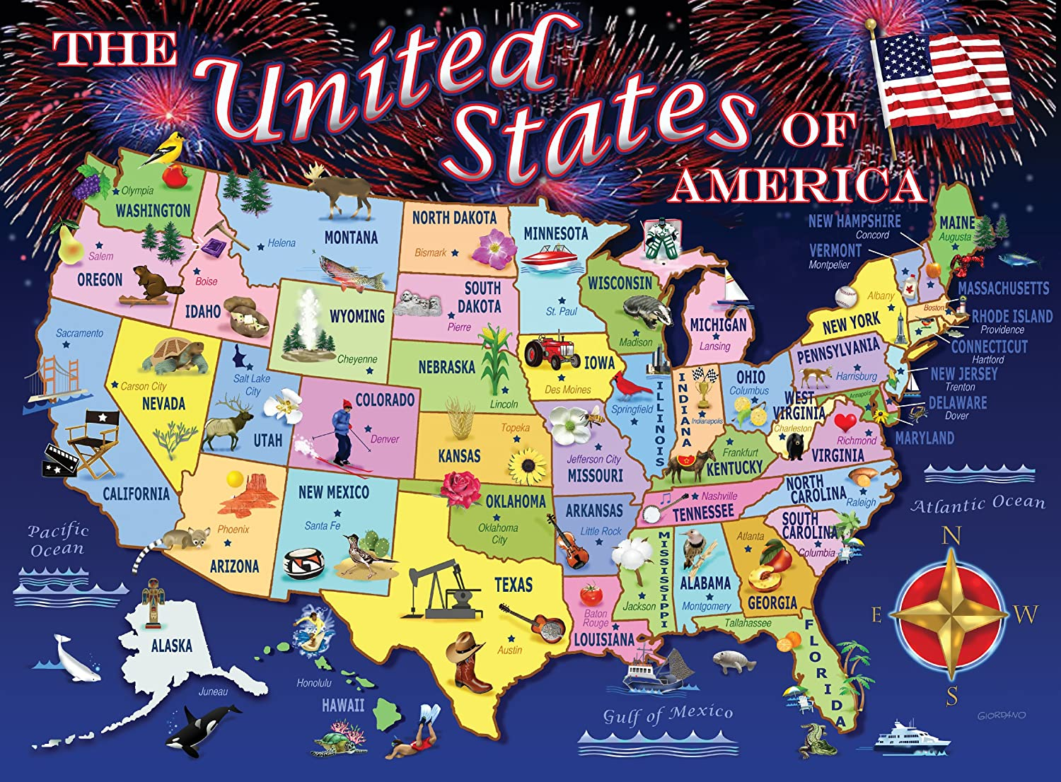 Amazoncom Statemap Piece Puzzle Toys Games - Us product map