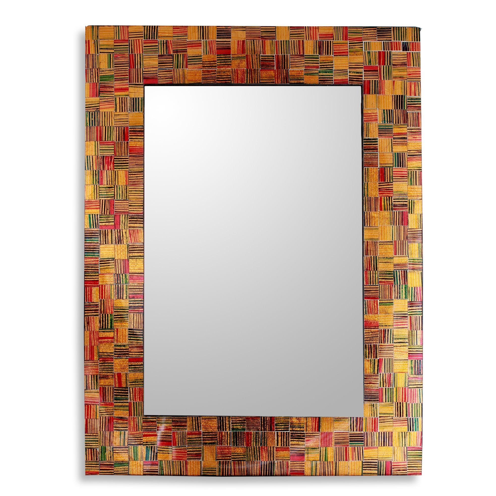 NOVICA ''Sunset Flare'' Unique Glass Mosaic Wall Mirror