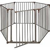 Crown Pet Products Convertible Pet Gate with Extra Wide Door / Indoor Outdoor Dog Exercise Playpen, Dark Bronze/Brown