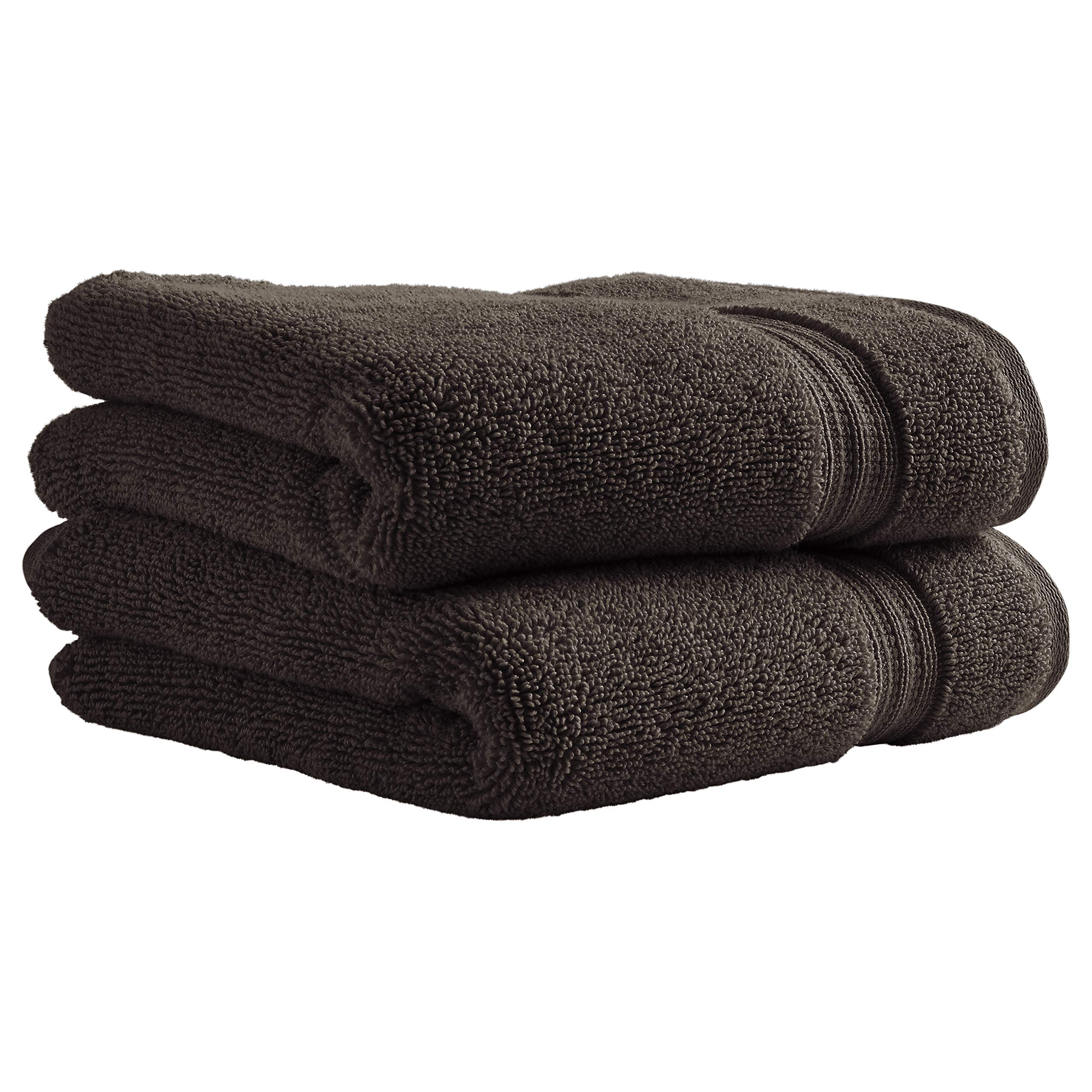 Stone & Beam Classic Egyptian Cotton Hand Towel Set, 2-Pack, Charcoal