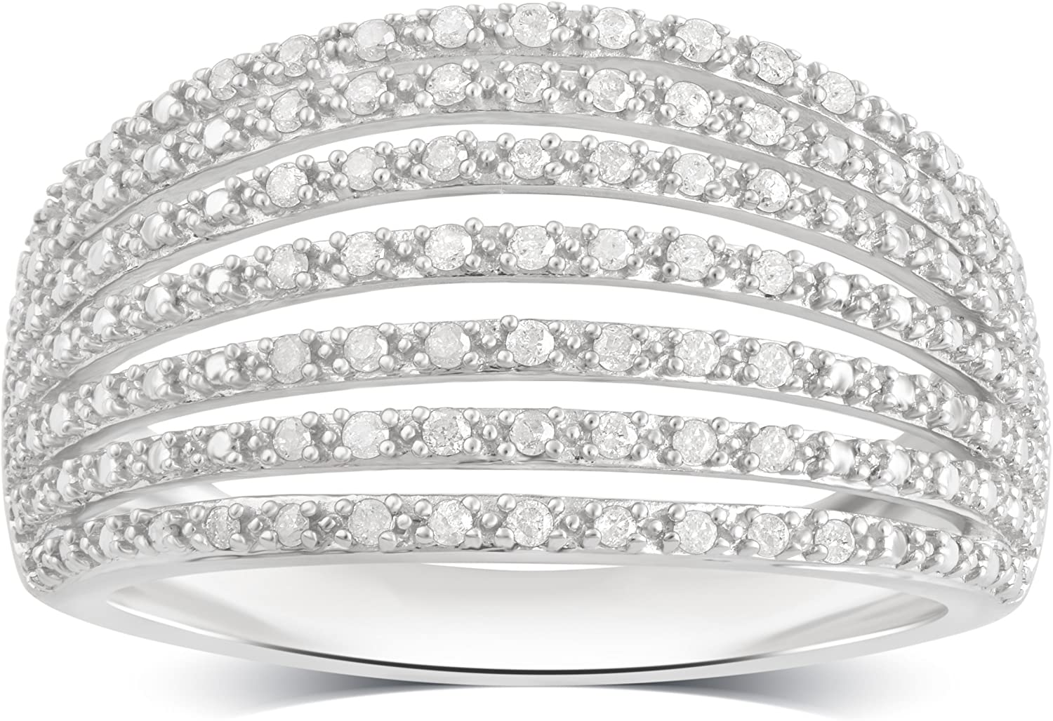 Sterling Silver Diamond Multi-Row Miracle Plate Band (1/4 cttw, J-K Color, I3 Clarity)