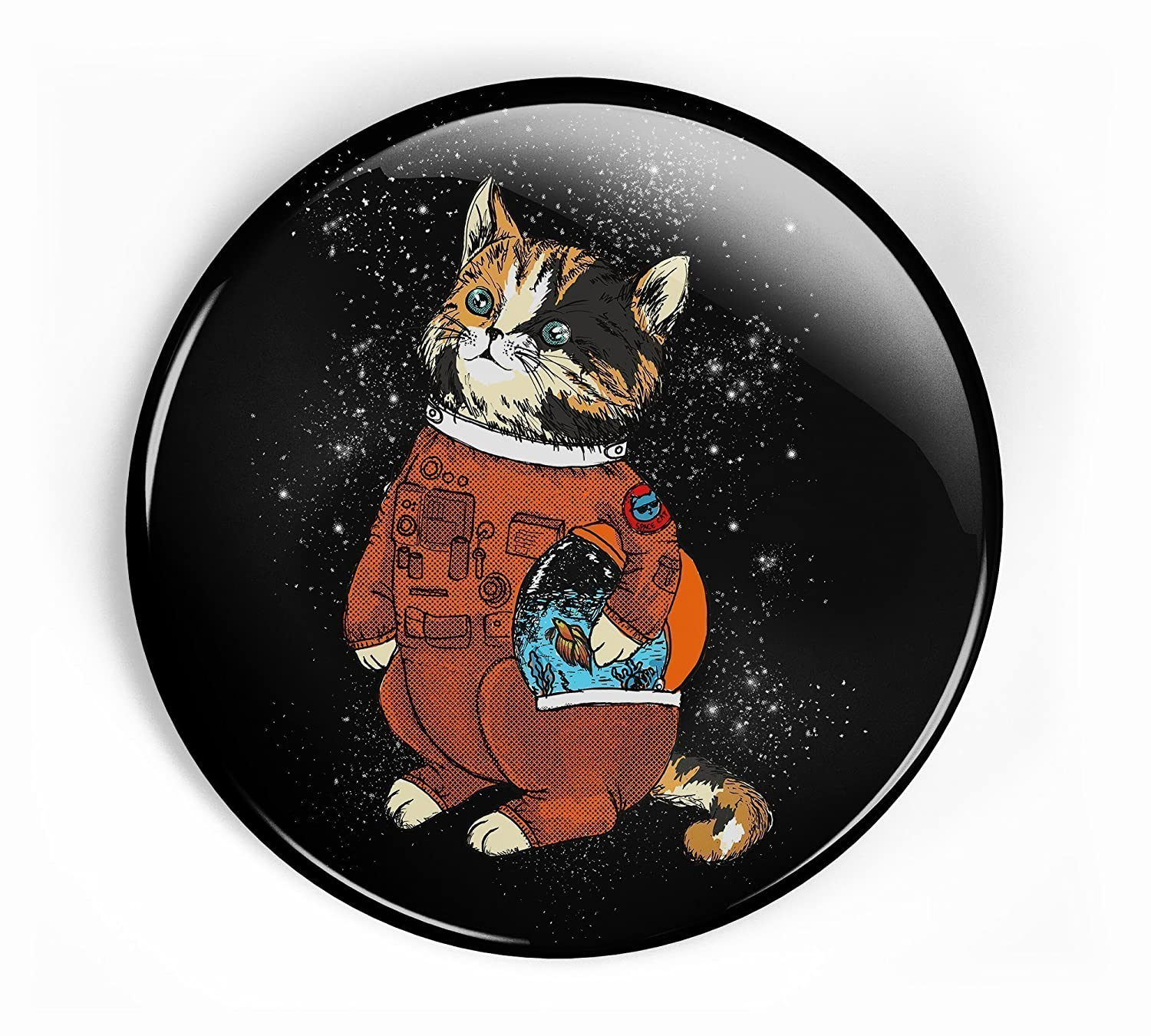 Astronaut cat pin button with space suit and helmet looking across the galaxy