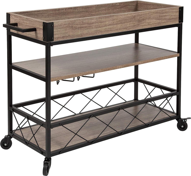 Taylor Logan Distressed Wood Kitchen Bar Cart with Storage Rack and Shelf, Light Oak