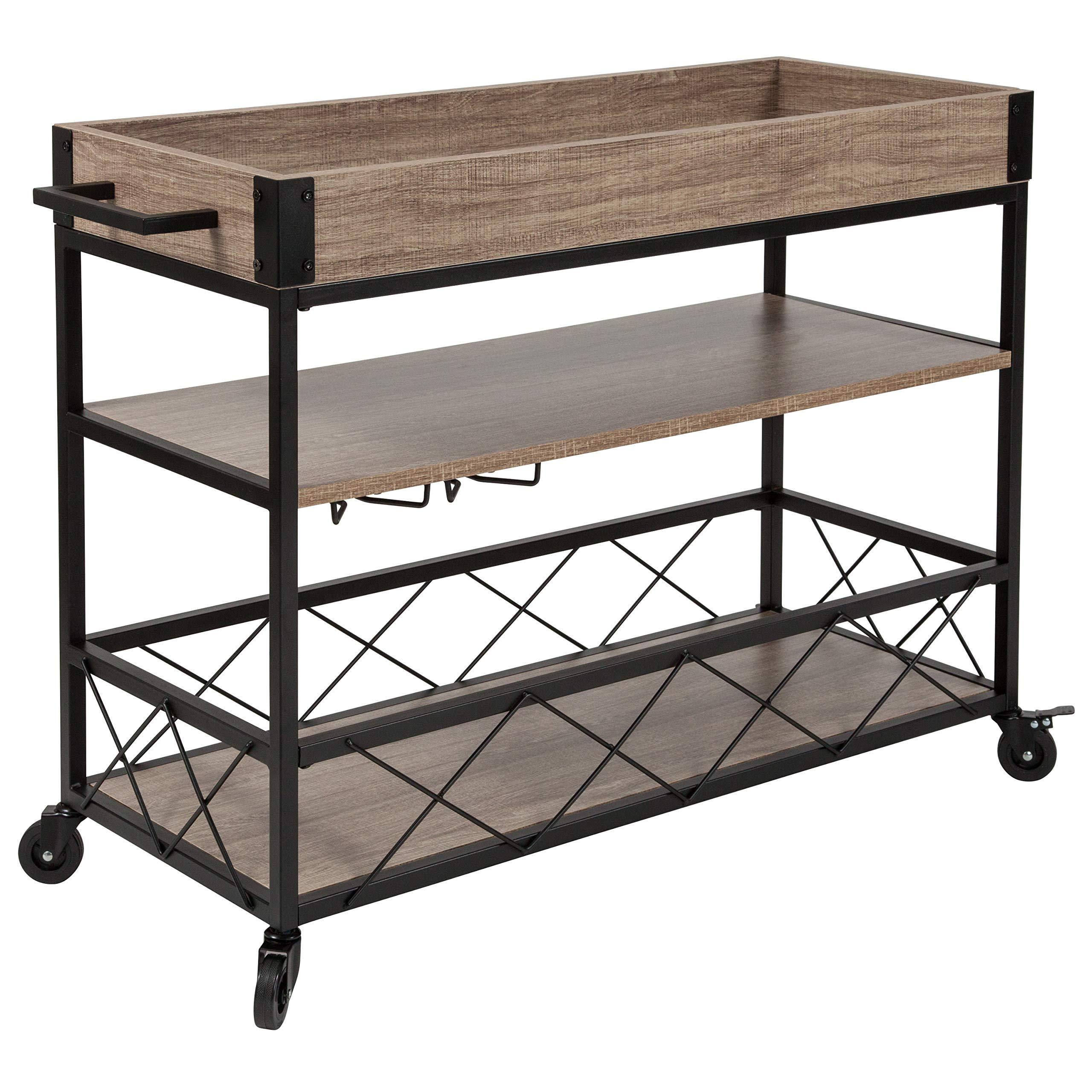 Taylor + Logan Distressed Wood Kitchen Bar Cart with Storage Rack and Shelf, Light Oak by Taylor + Logan