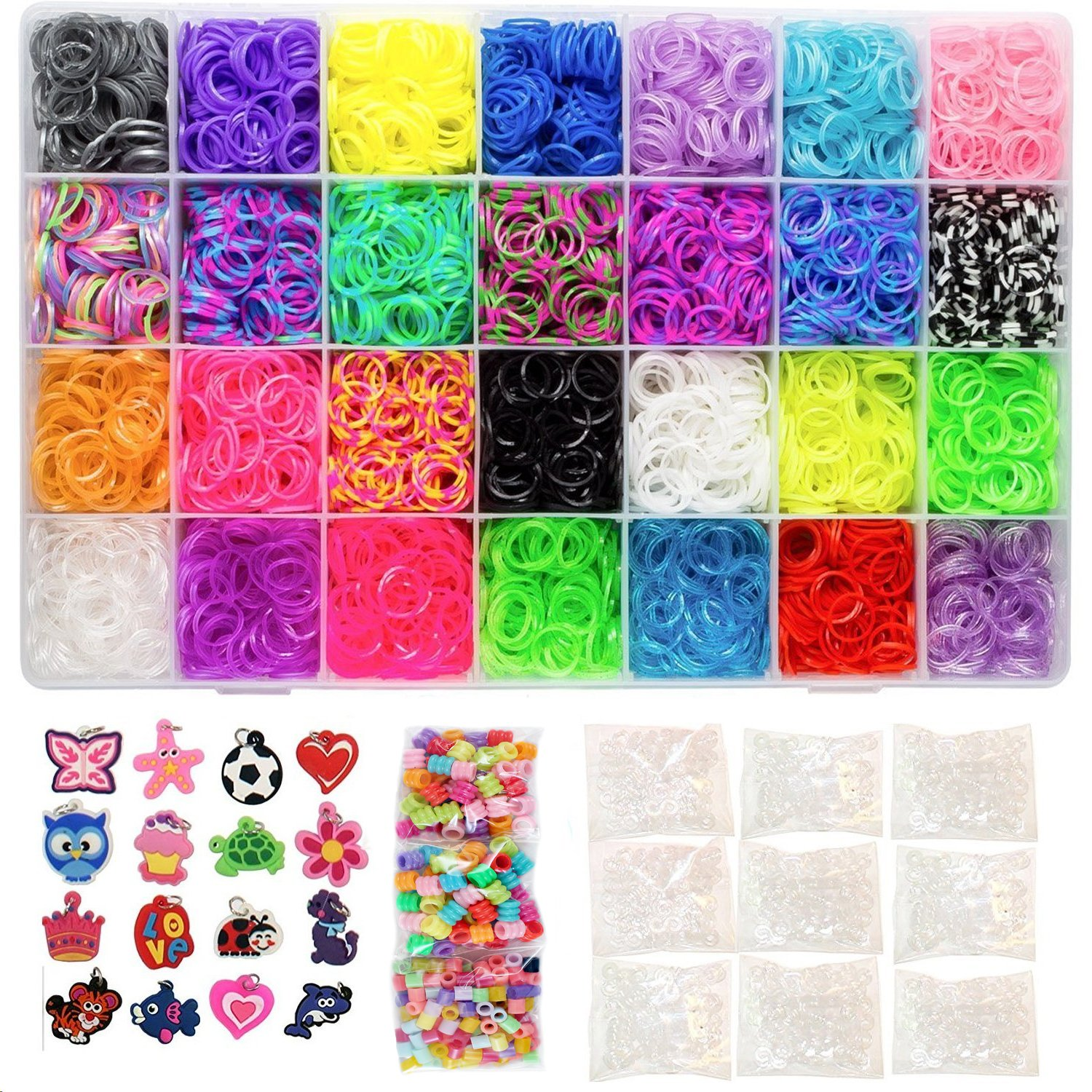 11000 Pc Rainbow Color Loom Bands Mega DIY Refill - 10500 Premium Quality Rubber Bands, 500 S Clips, 175 Beads, 24 Charms & Organizer Case