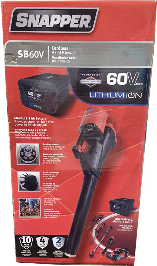 Snapper SB60V 60V Leaf Blower with 2AH Battery and Charger