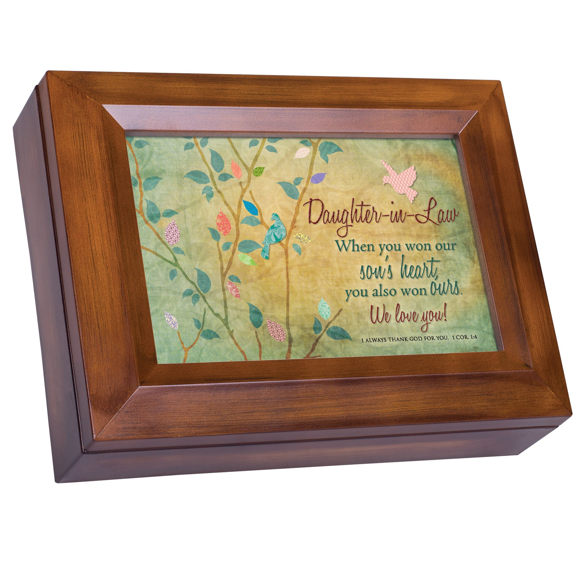 Cottage Garden Daughter-in-Law We Love You Wood Finish Jewelry Music Box - Plays Tune You Are My Sunshine by Cottage Garden (Image #1)