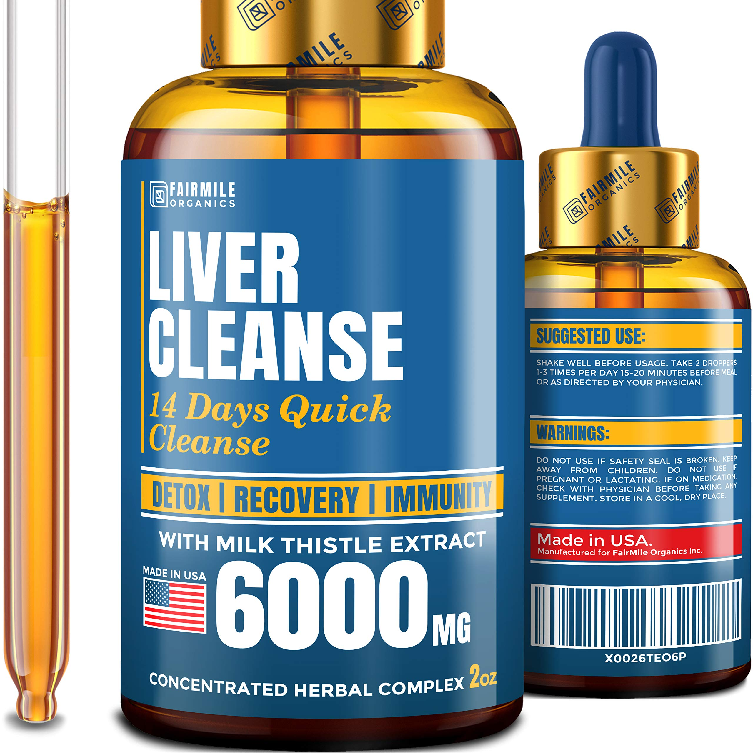 Liver Cleanse with 6000 MG Milk Thistle - Made in USA - Potent Liver Detox in Liquid Form for Best Absorption - 100% Natural Liver Support Supplement - Advanced Liver Detox Cleanse & Repair Formula by FAIRMILE Organics