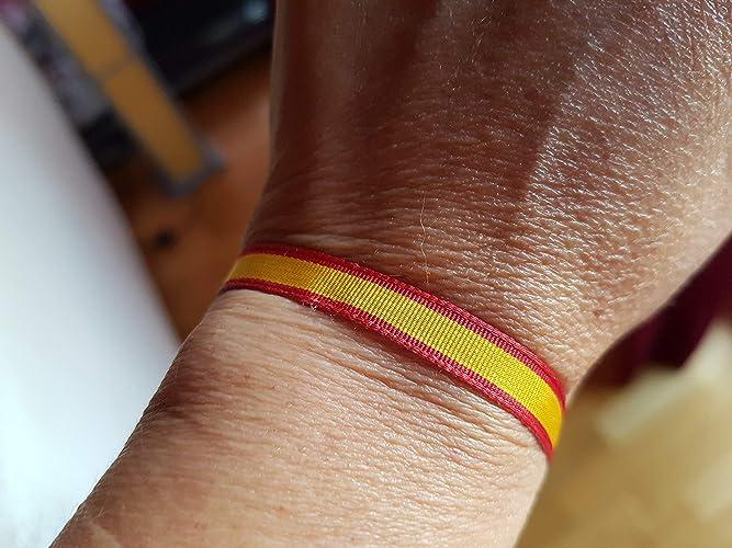 63ed2d9ad573 PULSERA Bandera de España Seda con Entrepieza Labrada Set 2 Pulseras Atadas  Bandera España