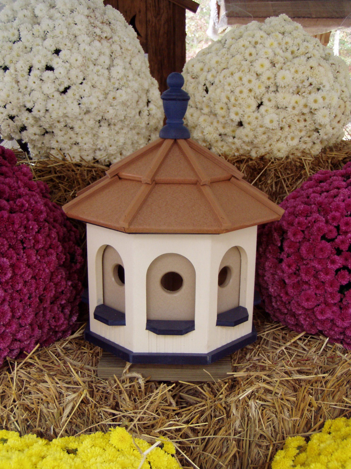 Handcrafted Poly Gazebo Birdhouse Homemade Handmade Ivory & Blue
