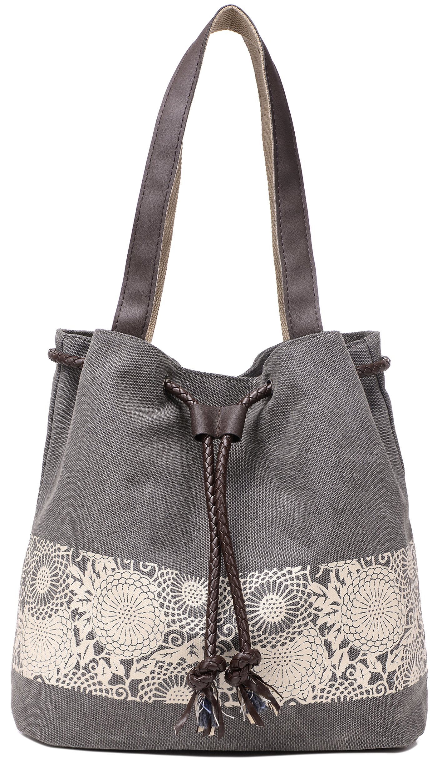 ArcEnCiel Women's Canvas Shoulder Hand Bag Tote Bag (Gray)