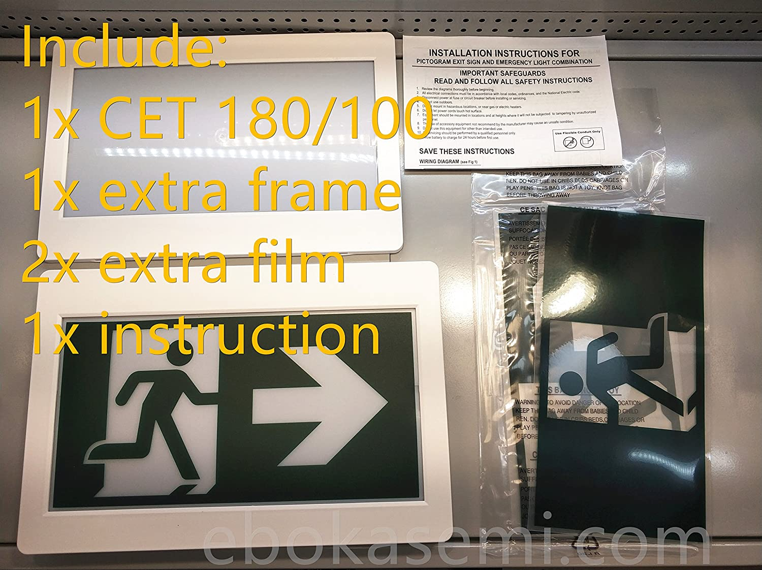 Running Man Exit Sign Cet 180 Cet 100 Thermoplastic Sign Combo