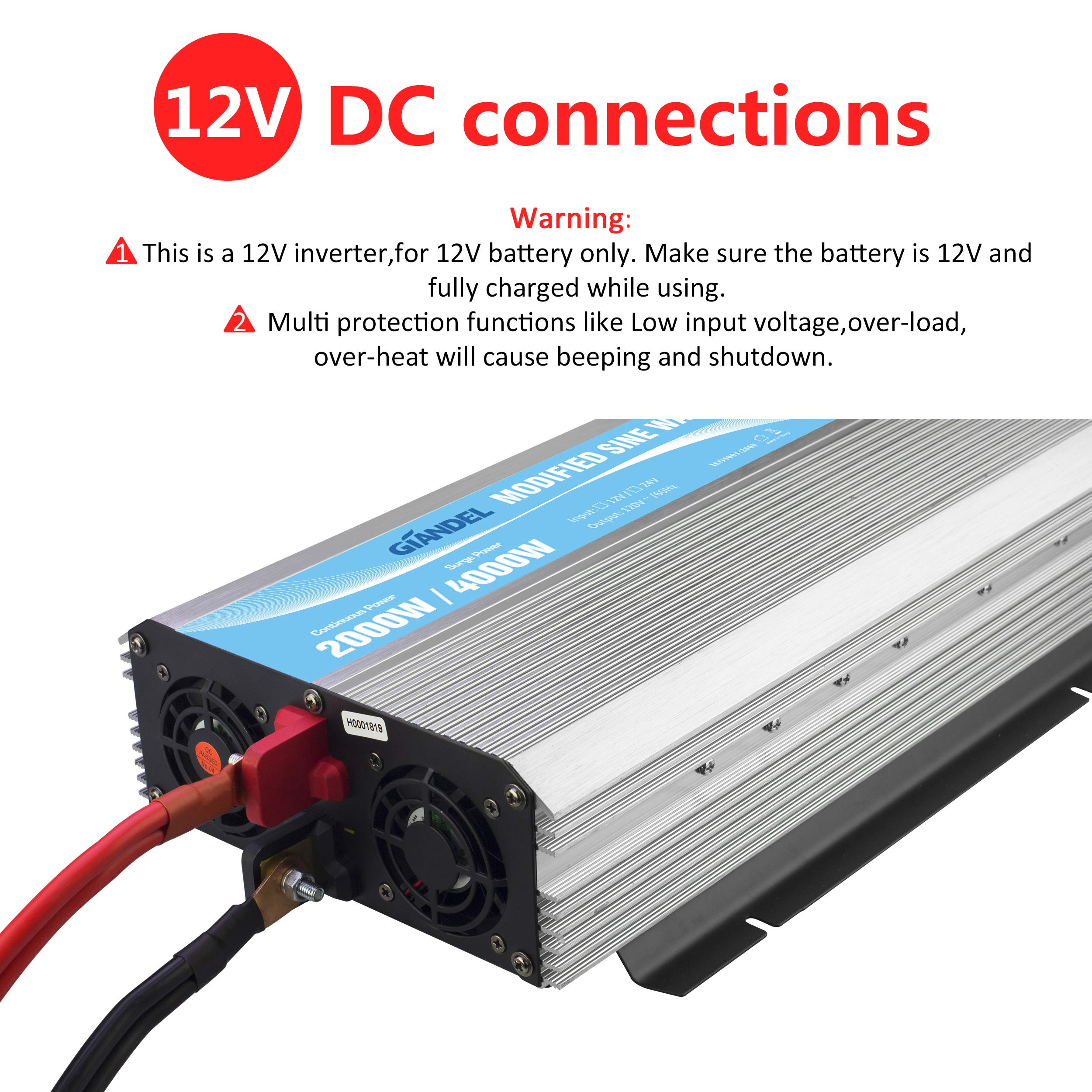 GIANDEL 2000W Power Inverter 12V DC to 110V 120V AC with Remote Control and LED Display Dual AC Outlets & USB Port for RV Truck Boat by Giandel (Image #4)