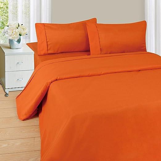 Sólido Naranja 600 Hilos algodón Egipcio Cama Juego de sábanas con ...