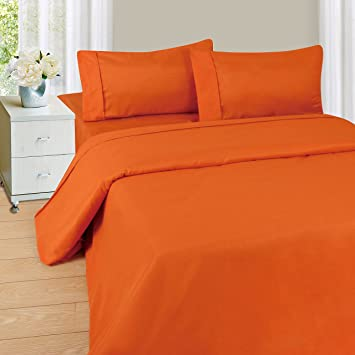 solid orange 600 thread count egyptian cotton bed sheet set with deep pocket