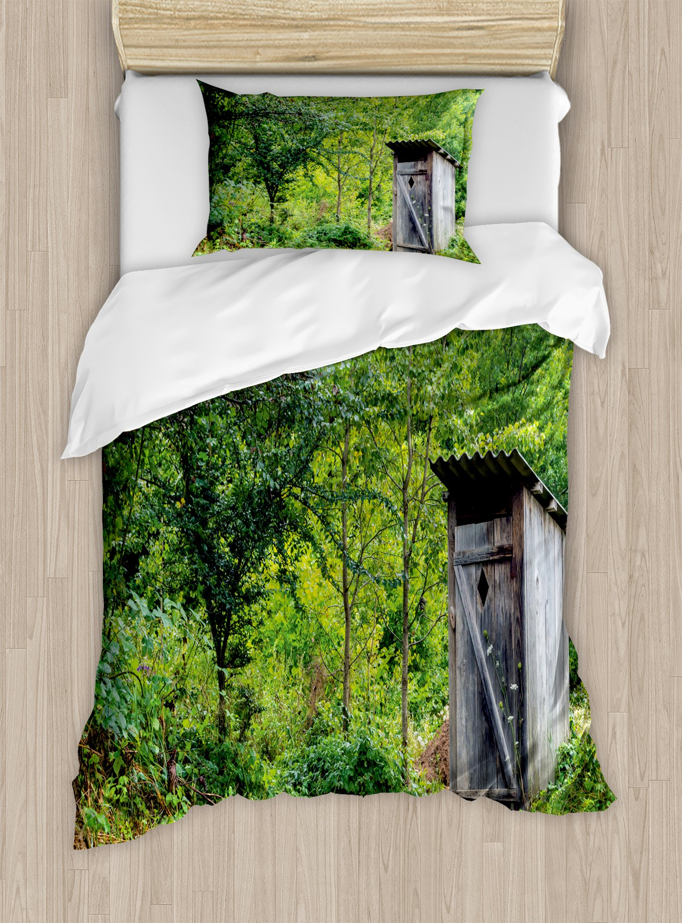 Ambesonne Outhouse Duvet Cover Set Twin Size, Old Ancient Cottage Outhouse in a Spring Mountian Forest Woods Image, Decorative 2 Piece Bedding Set with 1 Pillow Sham, Fern Green and Brown
