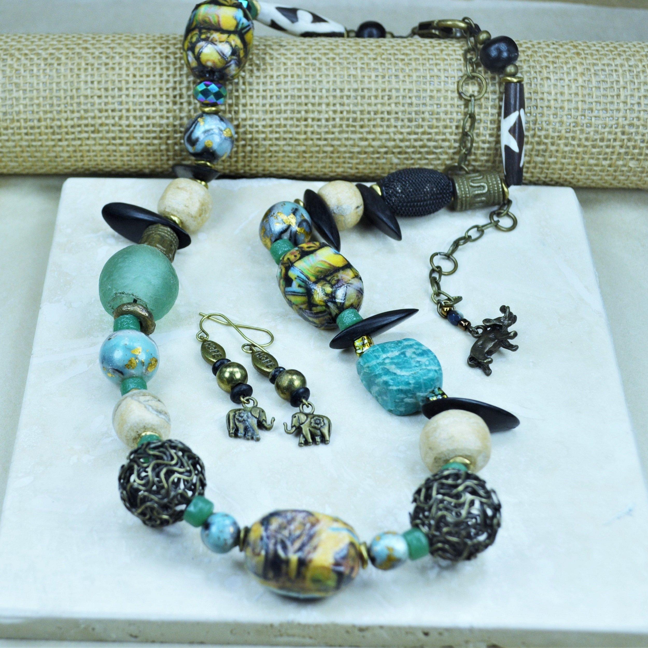 Malachite Woolly Mammoth Bone, Decoupage, Batik Toggle Necklace w/Earrings