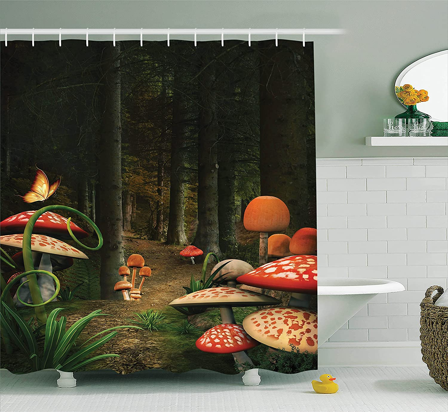Ambesonne Mushroom Decor Shower Curtain Set, Mushrooms in The Deep Dark Forest Fantasy Nature Theme Earth Path Mystical Image, Bathroom Accessories, 69W X 70L inches, Pomegranate Green and Brown