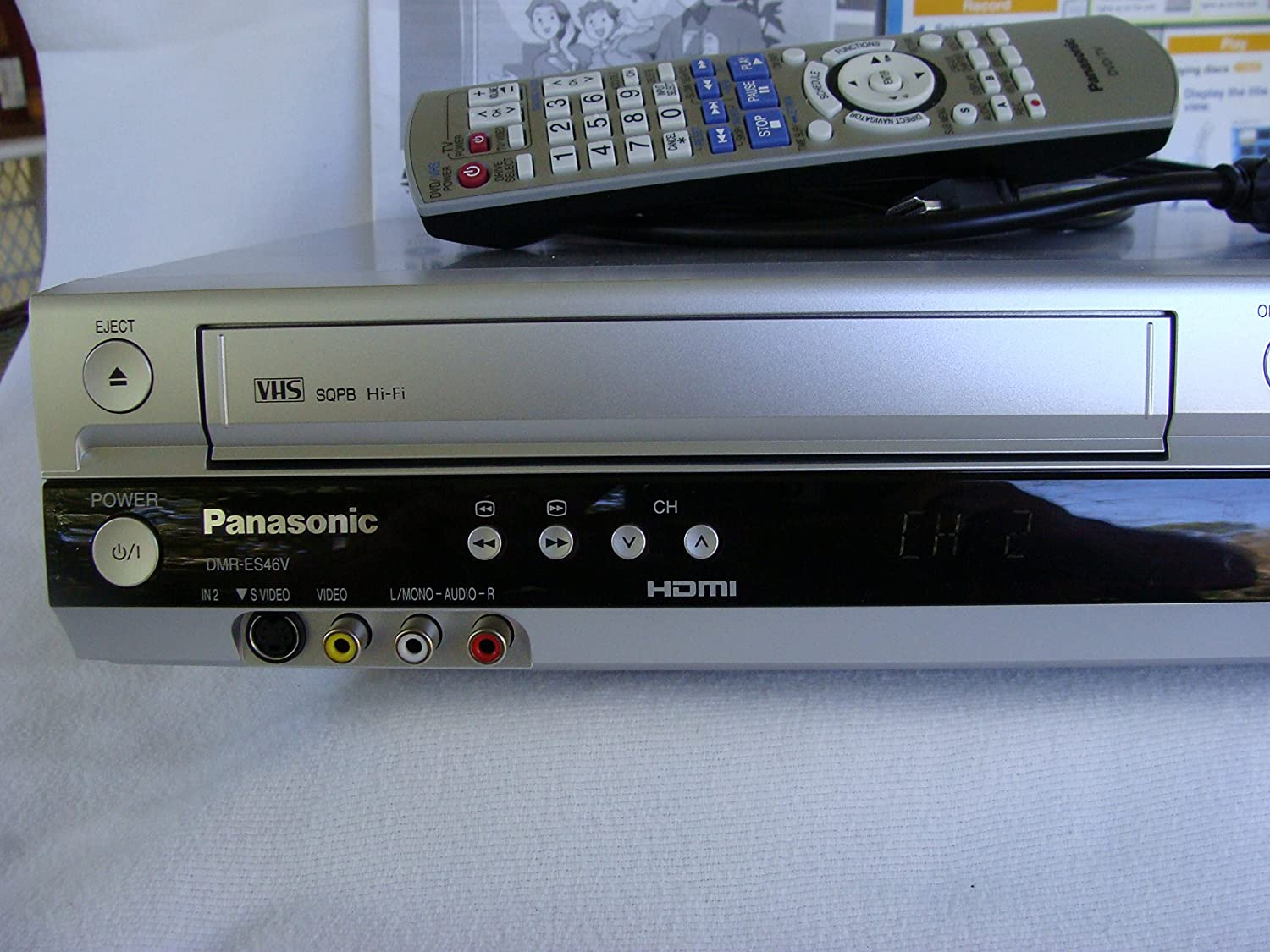 amazon com panasonic dmr es46vs vhs dvd recorder silver electronics rh amazon com Panasonic DMR- EZ48V Panasonic DMR Recorders